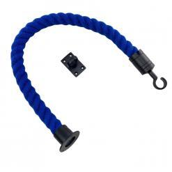 royal blue polyspun barrier rope with powder coated black cup hook and eye plate