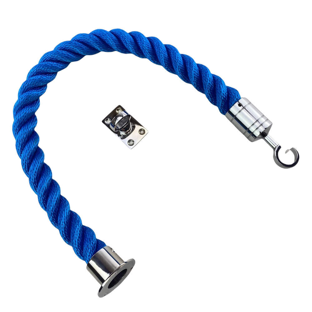royal blue softline barrier rope with polished chrome cup hook and eye plate