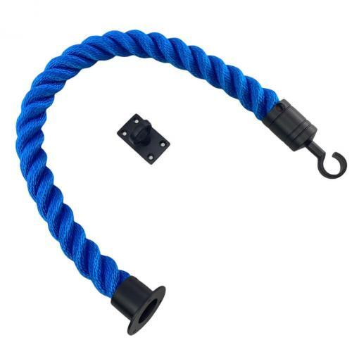 royal blue softline barrier rope with powder coated black cup hook and eye plate