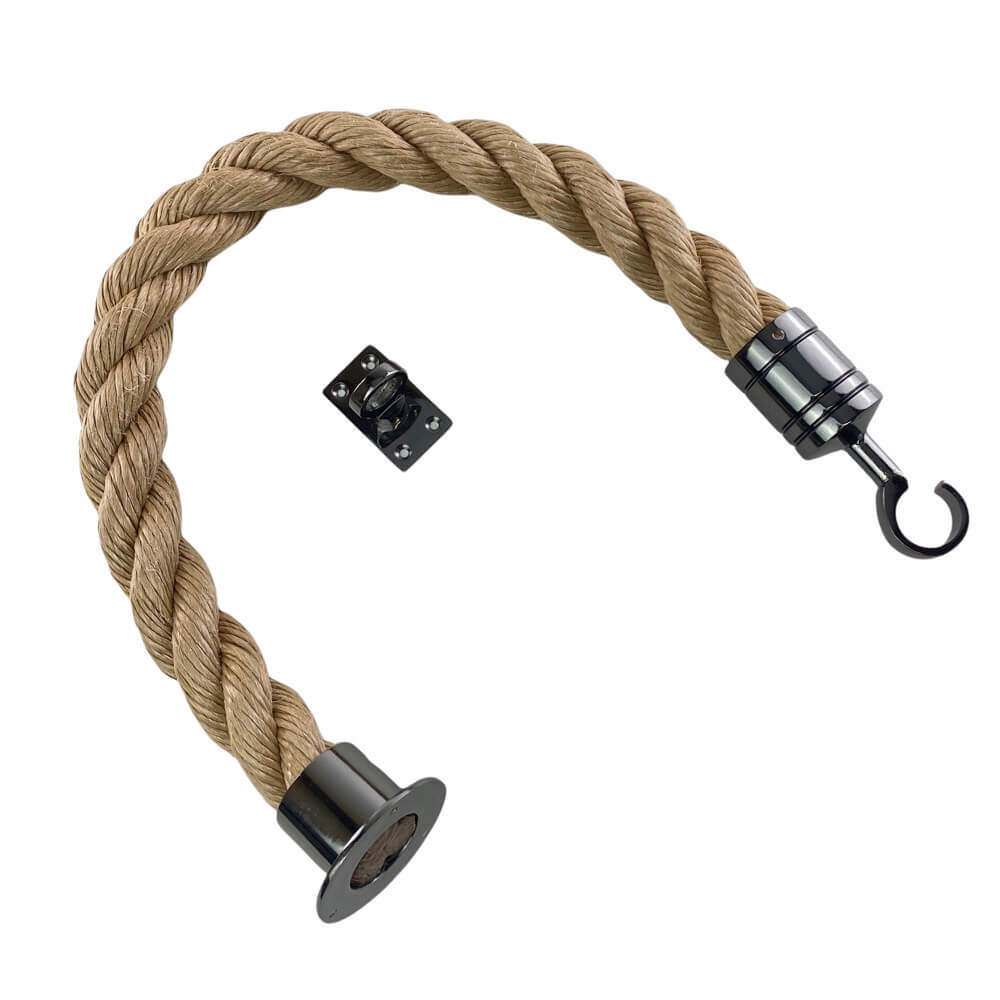 synthetic manila barrier ropes with gun metal black cup hook and eye plate
