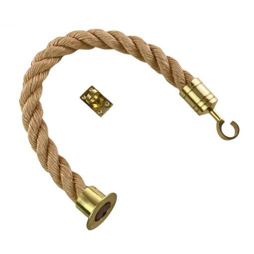 synthetic manila barrier ropes with polished brass cup hook and eye plate