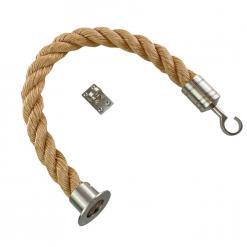 synthetic manila barrier ropes with satin nickel cup hook and eye plate