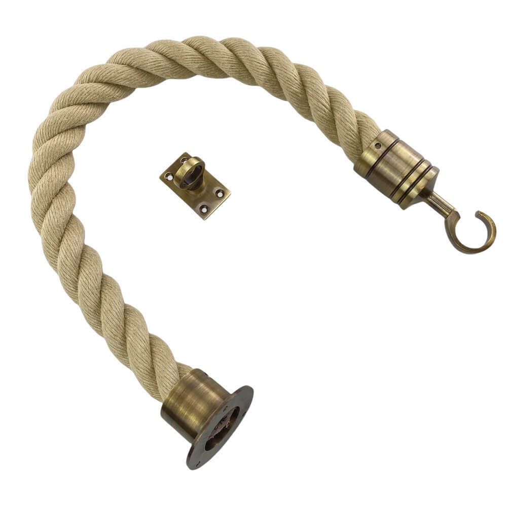 synthetic polyhemp barrier rope with antique brass cup hook and eye plate