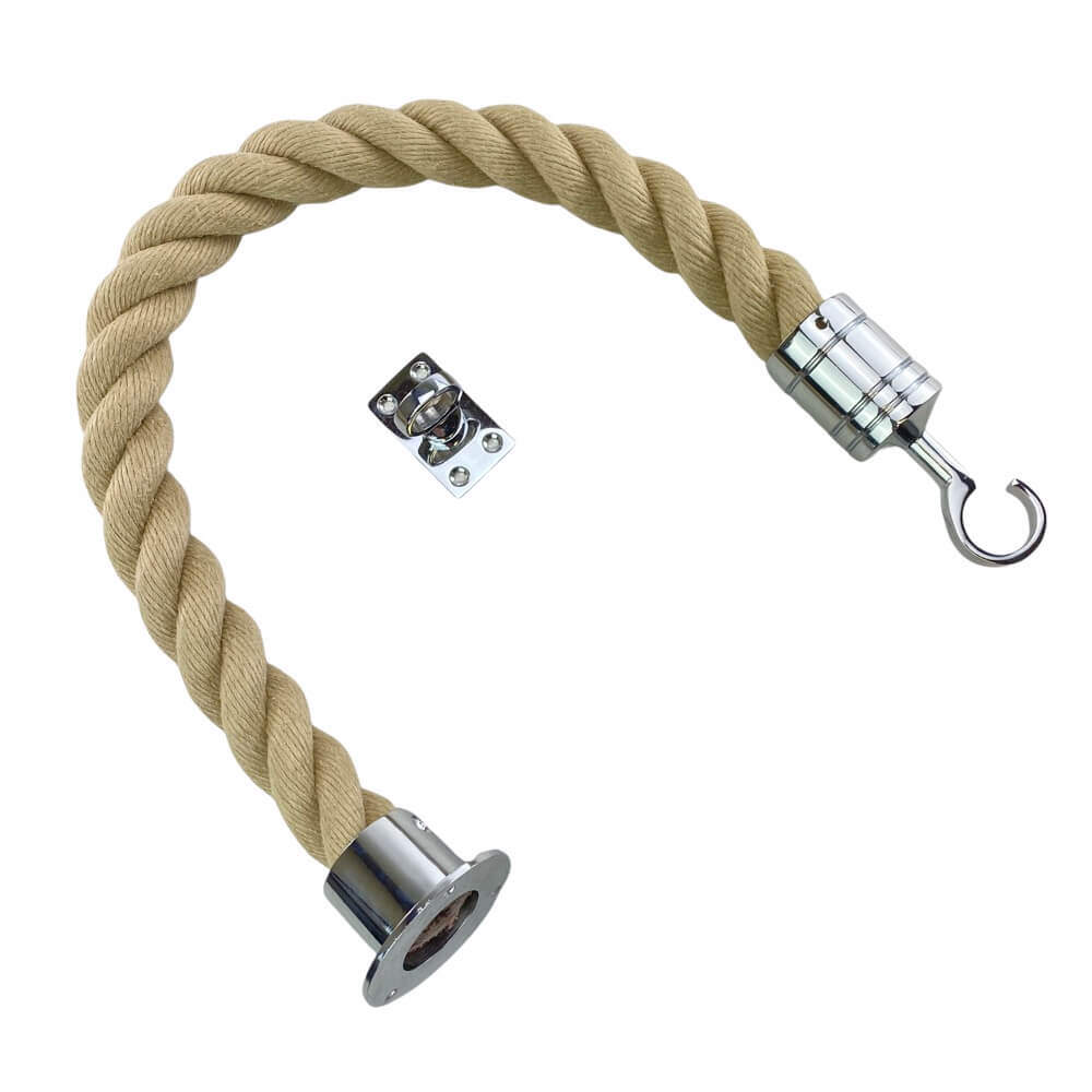 synthetic polyhemp barrier rope with polished chrome cup hook and eye plate