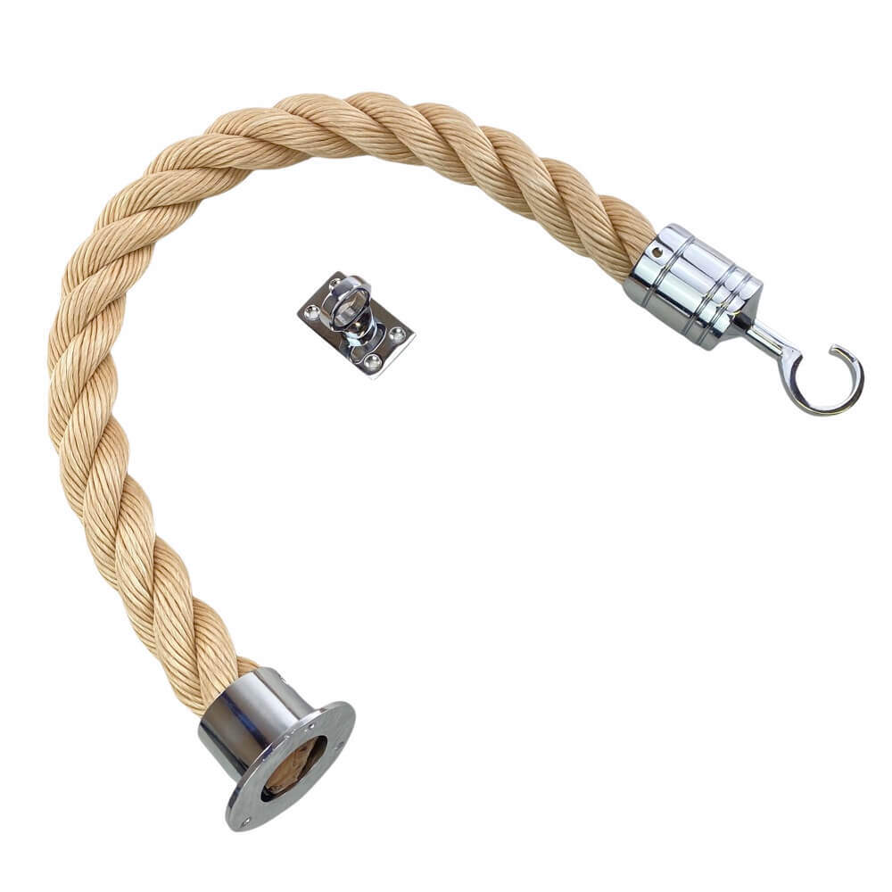 synthetic sisal barrier rope with polished chrome cup hook and eye plate fittings