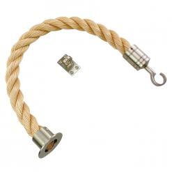 synthetic sisal barrier rope with satin nickel cup hook and eye plate fittings