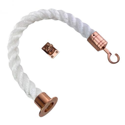 white staplespun barrier rope with copper bronze cup hook and eye plate