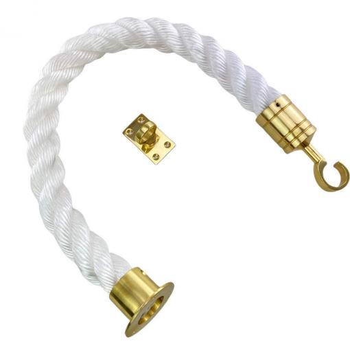 white staplespun barrier rope with polished brass cup hook and eye plate